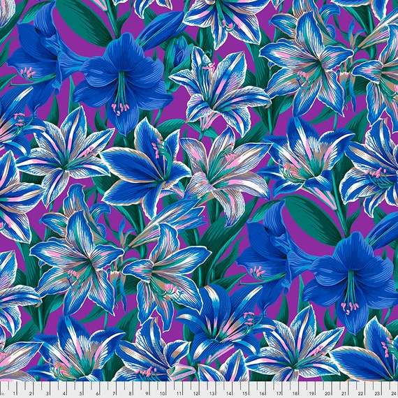 Separate Order!! AMARYLLIS BLUE Philip Jacobs - Kaffe Fassett Collective - Sold in 1/2 yd increments - Multiples cut as one length