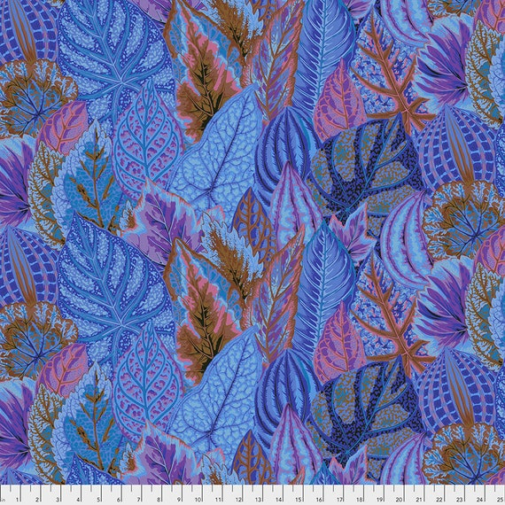 COLEUS BLUE PWPJ030 Philip Jacobs Kaffe Fassett Collective -  1/2 yd - Multiples cut one length  - USA based retailer