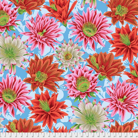 CACTUS FLOWER MULTI pwpj096 Philip Jacobs Kaffe Fassett Collective - Sold in 1/2 yd increments - Multiple units cut as one length