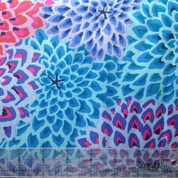 DAHLIA BLOOMS Cool Blue Purples Kaffe Fassett OOP Sold in 1/2 yd increments