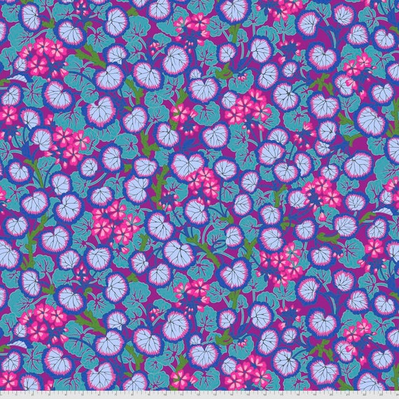 CLIMBING GERANIUMS PURPLE Philip Jacobs Kaffe Fassett Collective - - Sold in 1/2 yd increments  Multiples cut continuous
