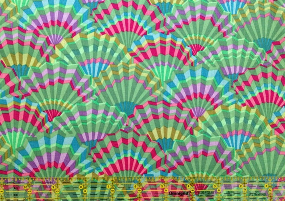 PAPER FANS GREEN pwgp143.green  Kaffe Fassett  - Sold in 1/2 yd increments - Multiple units cut as one length