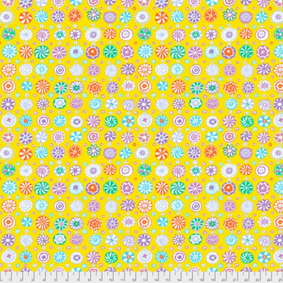 WHIRLIGIG YELLOW PWGP166 Kaffe Fassett Sold in 1/2 yd increments