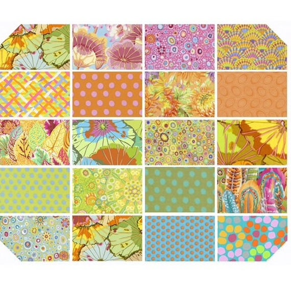 "Pre-Order 2021  PARAKEET Yellow Classics Pre-Cut Kaffe Fassett Collective  5"" 10"" Design Jelly Roll Fat Quarter"