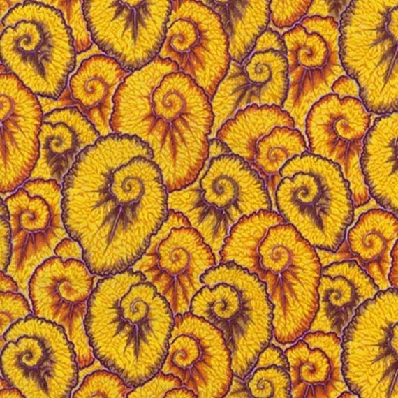 CURLIQUE OCHRE Yellow PWPJ087 Philip Jacobs for Kaffe Fassett Collective Sold in 1/2 yd increments
