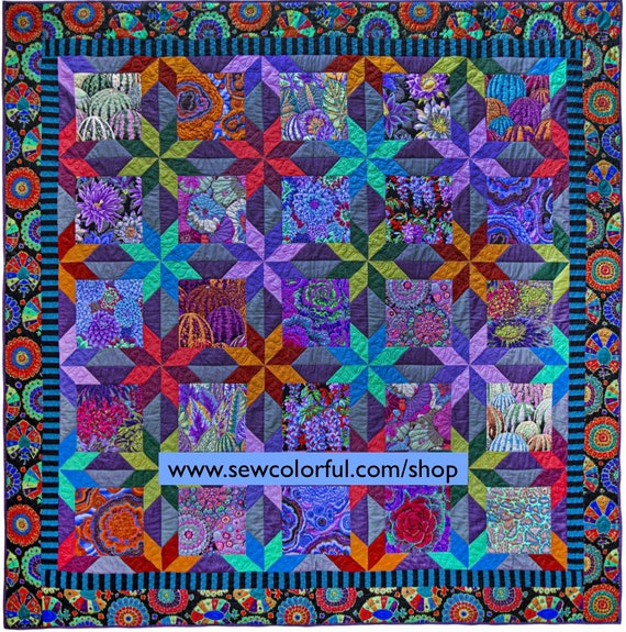 """Pre-Order STARRY NIGHT Fabric Pack - Pattern in new book """"Quilts In An English Village"""" by Kaffe Fassett Arrives July 2021"""