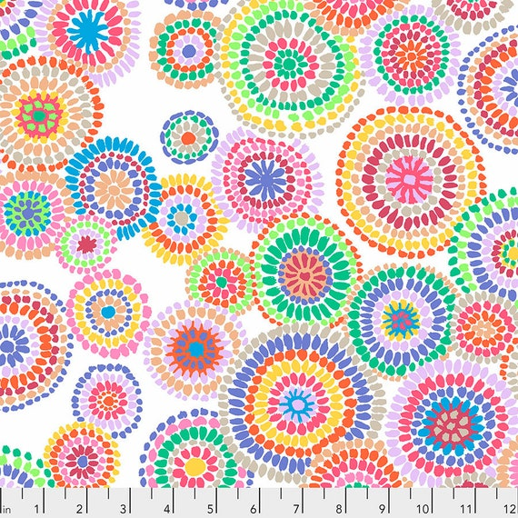 MOSAIC CIRCLES White PWGP176  Kaffe Fassett -  1/2 yd - Multiples cut one length  - USA based retailer