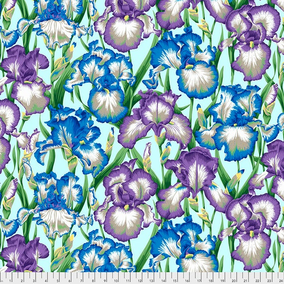 Separate Order!! BEARDED IRIS COOL Philip Jacobs PWPJ104 - Kaffe Fassett Collective - Sold in 1/2 yd units - Multiples cut one length