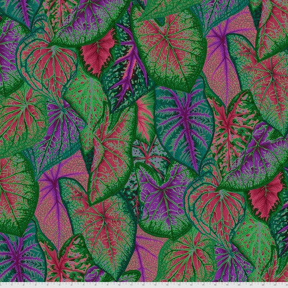CALADIUMS DARK Philip Jacobs Kaffe Fassett Collective -  - Sold in 1/2 yd increments  - Multiples cut continuous