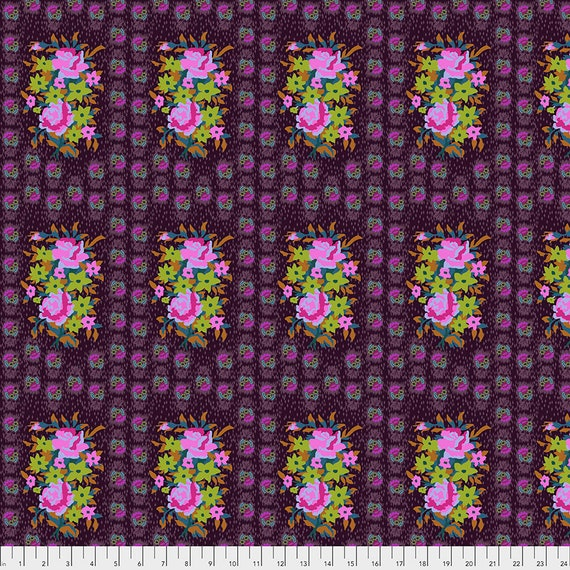 Pre-Order Keep on separate Order STITCHED BOUQUET EGGPLANT - Anna Maria Horner - Apr 2020 - 1/2 yd units  - Multiples cut as one length