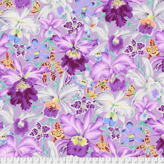 ORCHIDS Cool Purple Phillip Jacobs  PWPJ092.COOLX Kaffe Fassett Sold in 1/2 yd increments Item