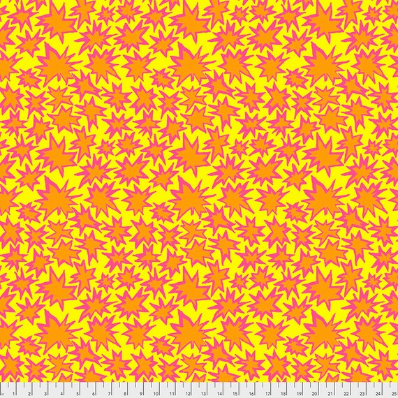 BANG YELLOW Orange pwbm72 Brandon Mably Kaffe Fassett Collective -  1/2 yd - Multiples cut continuously - Multiples cut in one length