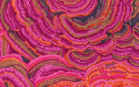 TREE FUNGI Pink PJ082 by Philip Jacobs for Kaffe Fassett Collective Sold in 1/2 yd increments