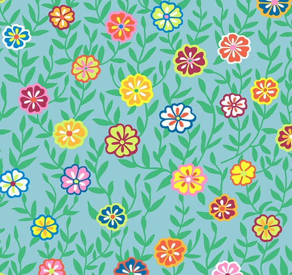 BUSY LIZZY Turquoise PWGP175 Kaffe Fassett -  1/2 yd - Multiples cut one length  - USA based retailer