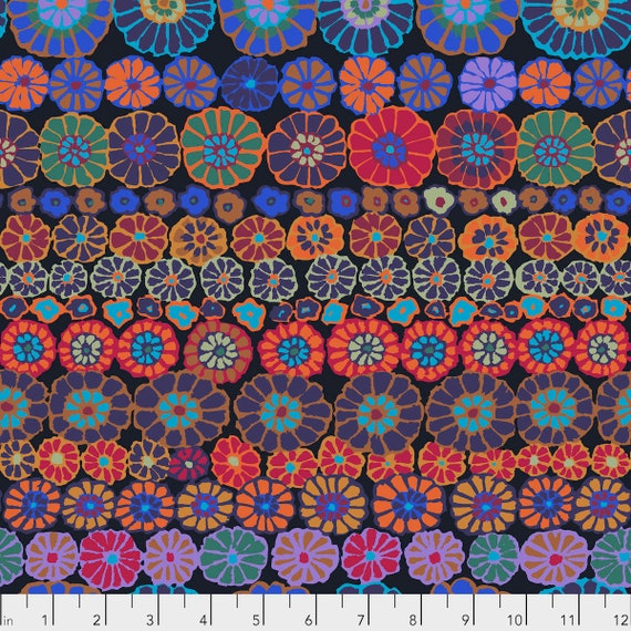 ROW FLOWERS DARK Kaffe Fassett PWGP169  1/2 yd - Multiples cut as one length