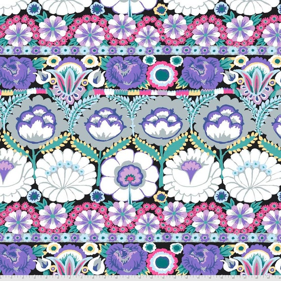 Pre-Order on Separate Order! EMBROIDERED FLOWER CONTRAST Kaffe Fassett - Sold in 1/2yd units - Multiples cut continuous