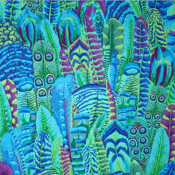 FEATHERS GREEN Philip Jacobs for Kaffe Fassett Collective Sold in 1/2 yd increments