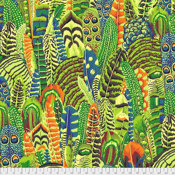 FEATHERS LIME pwpj055 Philip Jacobs - Kaffe Fassett Collective  Sold in 1/2 yd increments