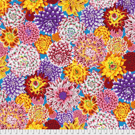 Separate Order!! DANCING DAHLIAS MULTI Philip Jacobs pwpj101 Kaffe Fassett Collective Sold in 1/2 yd units - Multiples cut one length