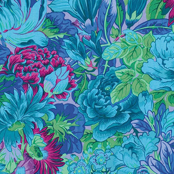 LAVINIA BLUE Philip Jacobs PWPJ064  Kaffe Fassett Collective Sold in 1/2 yd units - Multiple units cut as one length