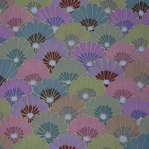 THOUSAND FLOWERS Smoke PWGP144 Kaffe Fassett  Sold in 1/2 yd increments