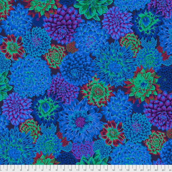DANCING DAHLIAS BLUE August 2020 Philip Jacobs  - Kaffe Fassett Collective - Sold in 1/2 yd units - Multiples cut one length