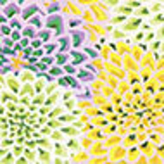 DAHLIA BLOOMS Spring Green Kaffe Fassett OOP GP54 Sold in 1/2 yd increments