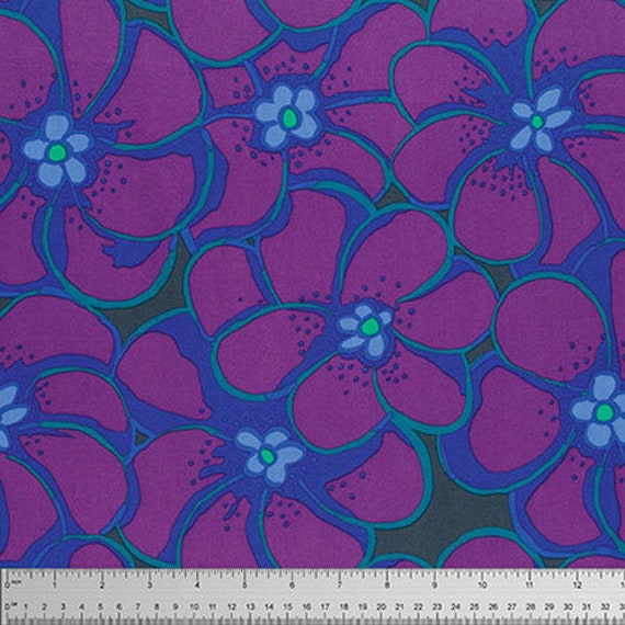ELEPHANT FLOWER Purple BM056 Brandon Mably  Kaffe Fassett Collective - Sold in 1/2 yard units - Multiples cut as one length