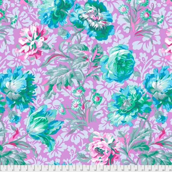 BAROQUE FLORAL Lavender Philip Jacobs PWPJ090.LAVEN Kaffe Fassett Collective  1/2 yd - Multiples cut continuously