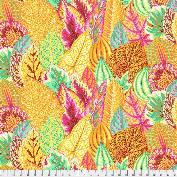 COLEUS YELLOW PWPJ030 Philip Jacobs Kaffe Fassett Collective -  1/2 yd - Multiples cut one length