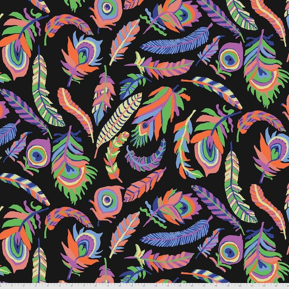 Pre-Order Separate Order! TICKLE My FANCY BLACK Brandon Mably Kaffe Fassett Collective Sold in 1/2yd units - Multiples cut continuous