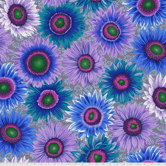 VAN GOGH BLUE Philip Jacobs Kaffe Fassett Collective - - Sold in 1/2 yd increments  - Multiples cut continuous
