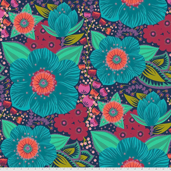 """108"""" HONORABLE MENTION Turquoise - Anna Maria Horner - Sold in 1/2 yard - Multiples cut in one length"""