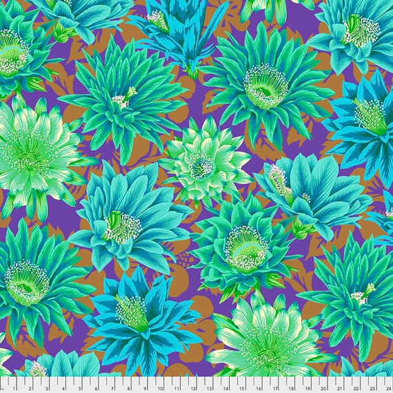 CACTUS FLOWER Emerald pwpj096 Philip Jacobs Kaffe Fassett Collective Sold in 1/2 yd increments