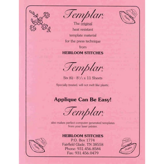 TEMPLAR Heat Resistant Template Plastic for Applique and other crafts by Heirloom Stitches