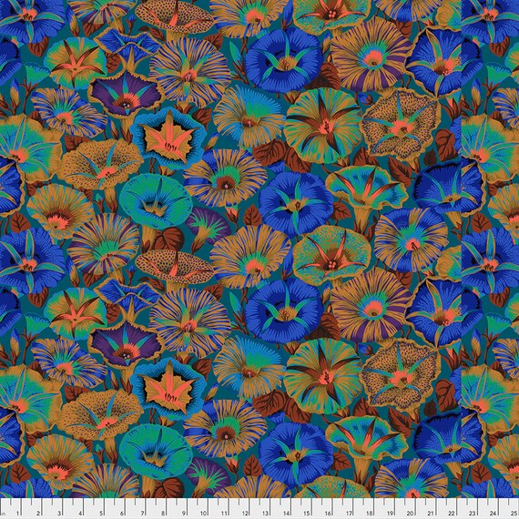 Pre-Order - VARIEGATED MORNING GLORY Blue pwpj098 Philip Jacobs Kaffe Fassett Collective - Sold in 1/2 yd increments - Multiples cut as one