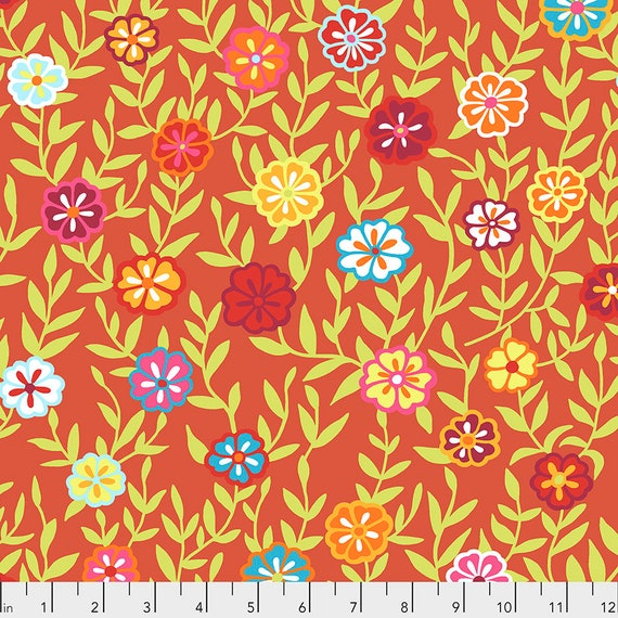 BUSY LIZZY Red PWGP175 Kaffe Fassett -  1/2 yd - Multiples cut one length