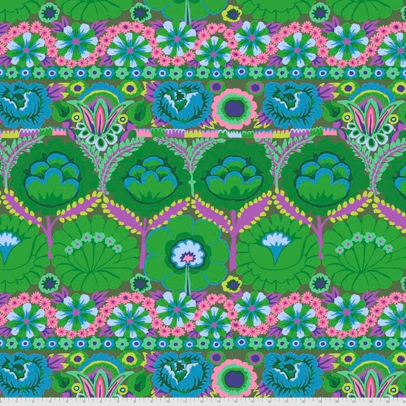 Pre-Order on Separate Order! EMBROIDERED FLOWER GREEN Kaffe Fassett - Sold in 1/2yd units - Multiples cut continuous