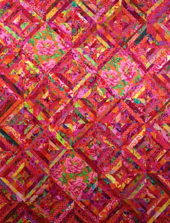 SIZZLING SUMMER Quilt Kit in hot red/pink colors Kaffe Fassett Collective fabrics - FREE Shipping