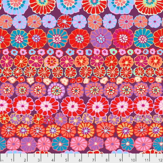 ROW FLOWERS RED Kaffe Fassett PWGP169  1/2 yd - Multiples cut continuously