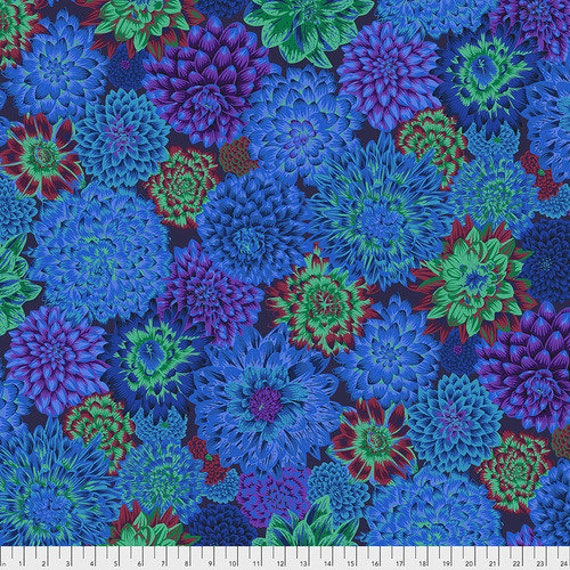 1/2 yd DANCING DAHLIAS BLUE Philip Jacobs  Kaffe Fassett Collective - Sold in 1/2 yd increments - Multiple units cut as one length