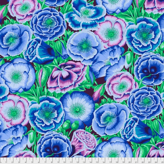 POPPY GARDEN Blue Philip Jacobs PWPJ095.BLUEX Kaffe Fassett Collective  1/2 yd - Multiples cut continuously Item