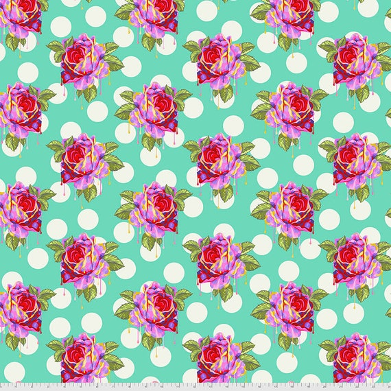 1/2 yd PAINTED ROSES - Wonder  - Curiouser -  Tula Pink  Sold in 1/2 yd increments - Multiples cut as one length