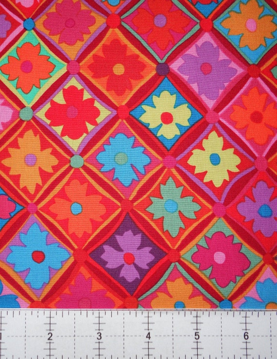 Antwerp Flower Red by Kaffe Fassett Sold in 1/2 yd increments