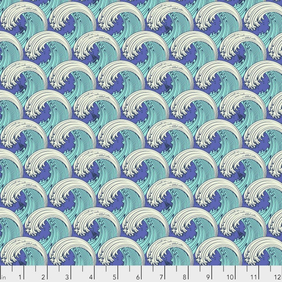 1/2 yd WHITE CAPS Aquamarine Blue ZUMA Tula Pink - Multiple units cut as one length