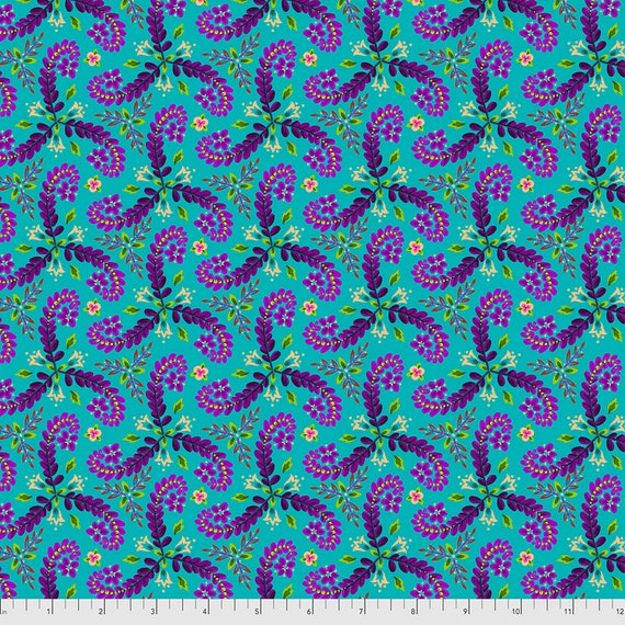 PREORDER June/July delivery FRONDS TURQUOISE  - Magicountry by Odile Baileou - Sold in 1/2 yd increments - Multiple units cut one length