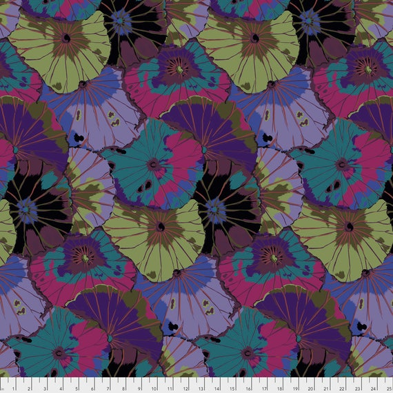 LOTUS LEAF Dark Kaffe Fassett PWGP029.DARK  1/2 yd - Multiples cut continuously