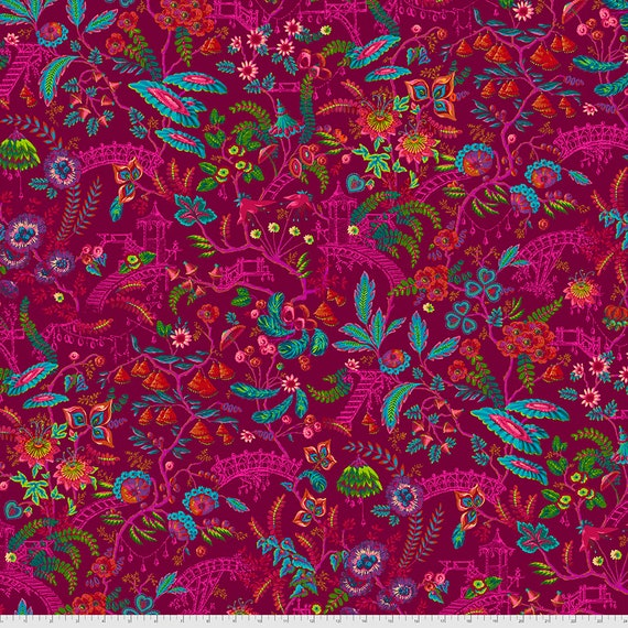 PREORDER June/July delivery FLORAPOLIS Pink - Magicountry by Odile Baileous - Sold in 1/2 yd increments - Multiple units cut one length