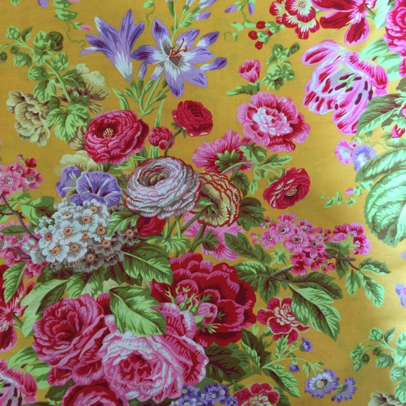 FLORAL DELIGHT YELLOW  PJ075 Philip Jacobs - Kaffe Fassett Collective Sold in 1/2 yd increments