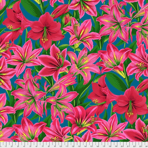 AMARYLLIS RED Philip Jacobs  - Kaffe Fassett Collective - Sold in 1/2 yd increments - Multiple units cut as one length